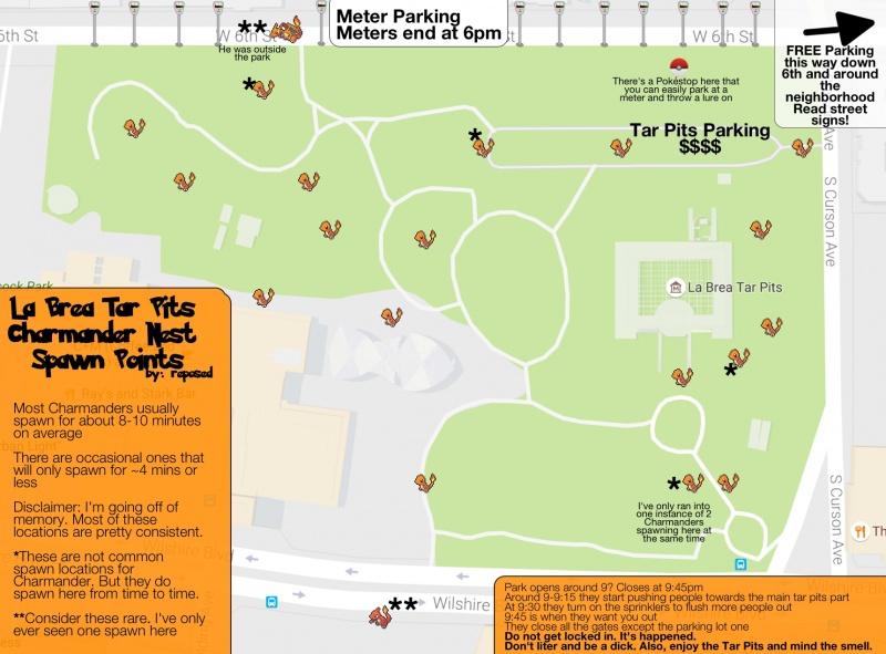 Charmander Nest - La Brea Tar Pits - Pokemon Go Wiki